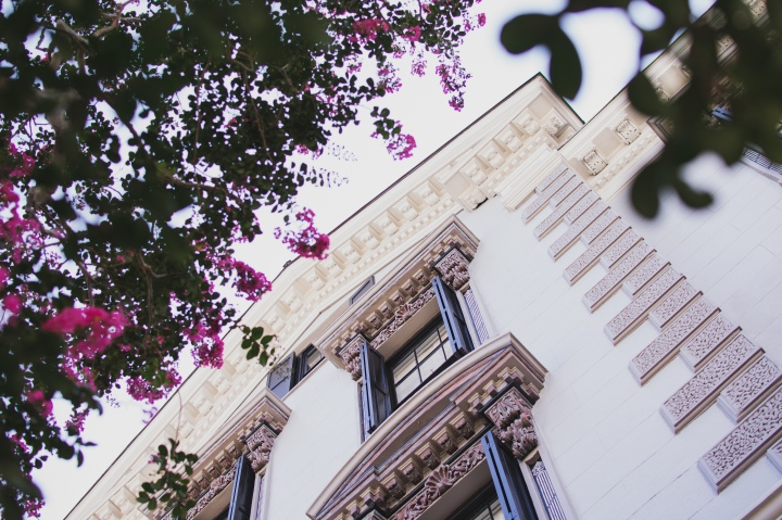 Looking up at detailed house and pink crepe myrtle on King St.