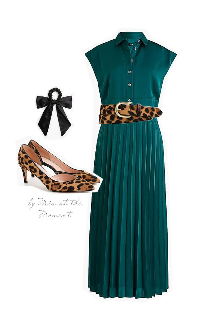 Green dress with leopard print accessories.