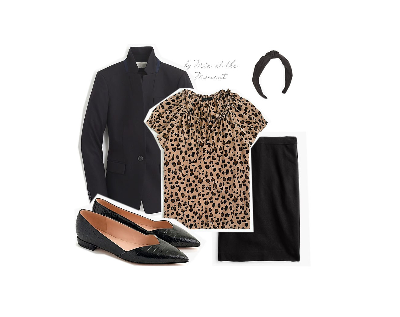 Blazer, leopard shirt and skirt ensemble.