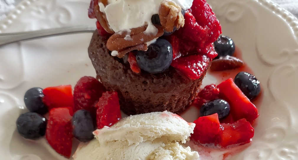 Double Chocolate Brownies with Honeyed Berries & Cream