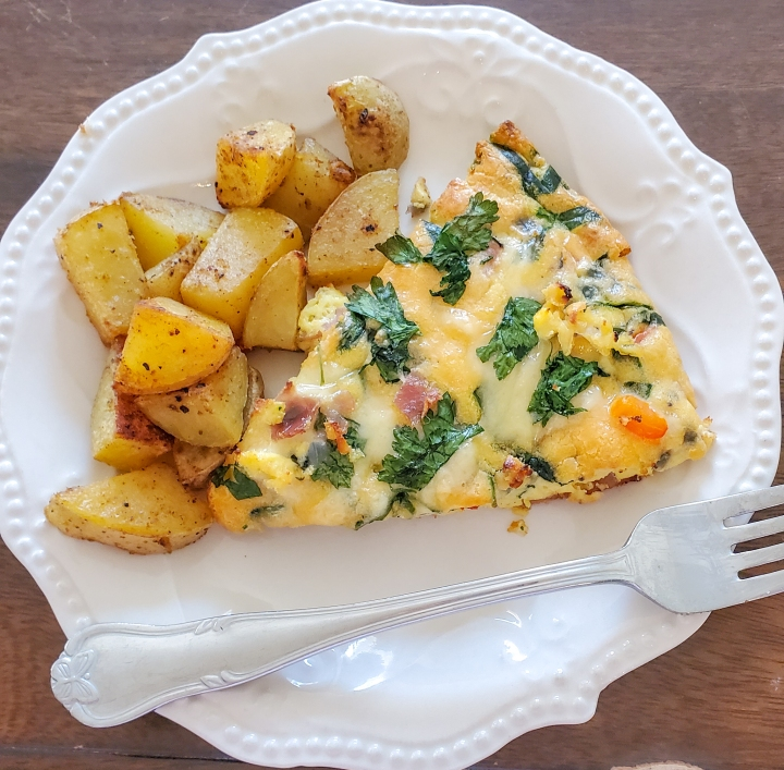 Simple Ham & Veggie Frittata with Oven Roasted Potatoes